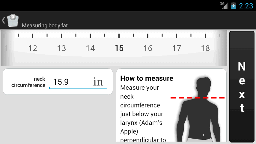 Weight Meter - body fat percentage screen