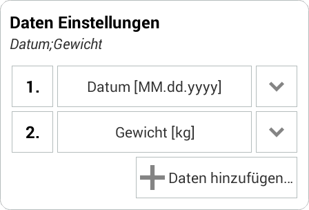 Weight Meter - csv Import Beispiel 1