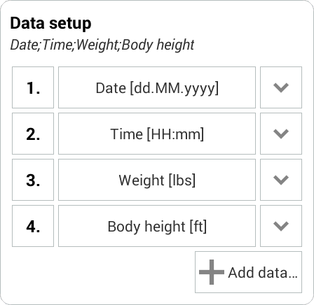Weight Meter - csv import example 2