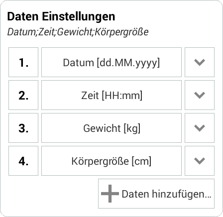 Weight Meter - csv Import Beispiel 2