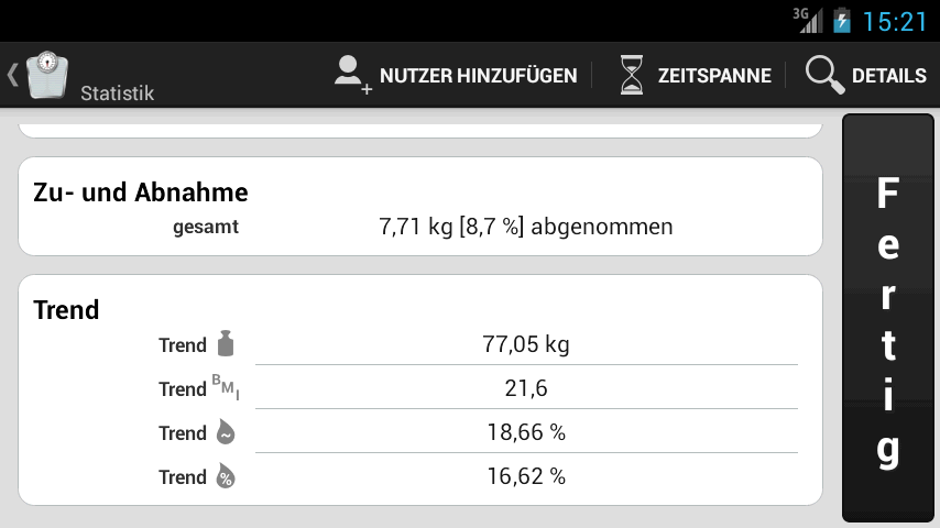 Weight Meter - Statistik-Bildschirm
