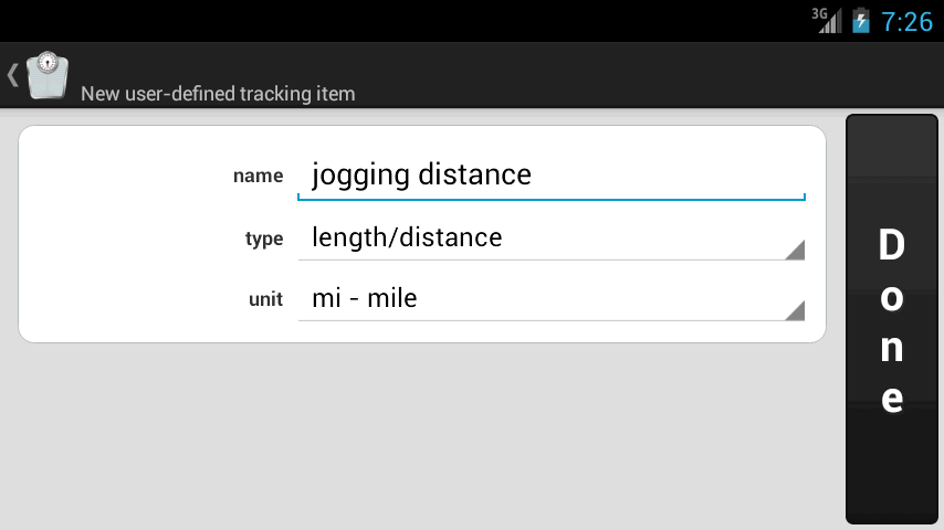Weight Meter - user-defined tracking item screen