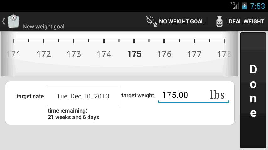Weight Meter - weight goal screen